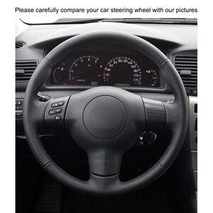 Image 3 - El dikişli siyah PU suni deri araba direksiyon kılıfı Toyota RAV4 Celica Matrix MR2 Supra Voltz Caldina MR S