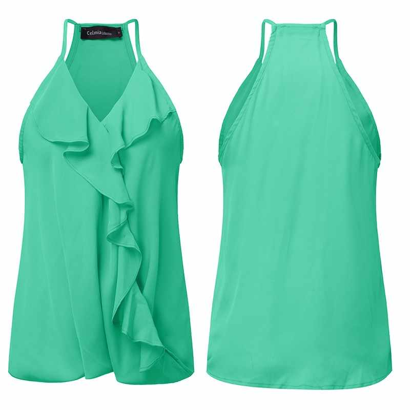 Zomer Tank Tops 2019 Celmia Sexy Off Shoulder Ruffle Blouse Casual Strap V-hals Mouwloze Top Vrouwen Top Camis Plus size S-3XL