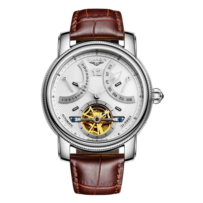 GUANQIN GJ16009 watches men luxury brand Tourbillon Automatic waterproof gold Brand Mechanical Watch stainless steel Wristwatch rosdn luxury men gold watches famous brand men s automatic mechanical watch mans gold skeleton mechanical wristwatch