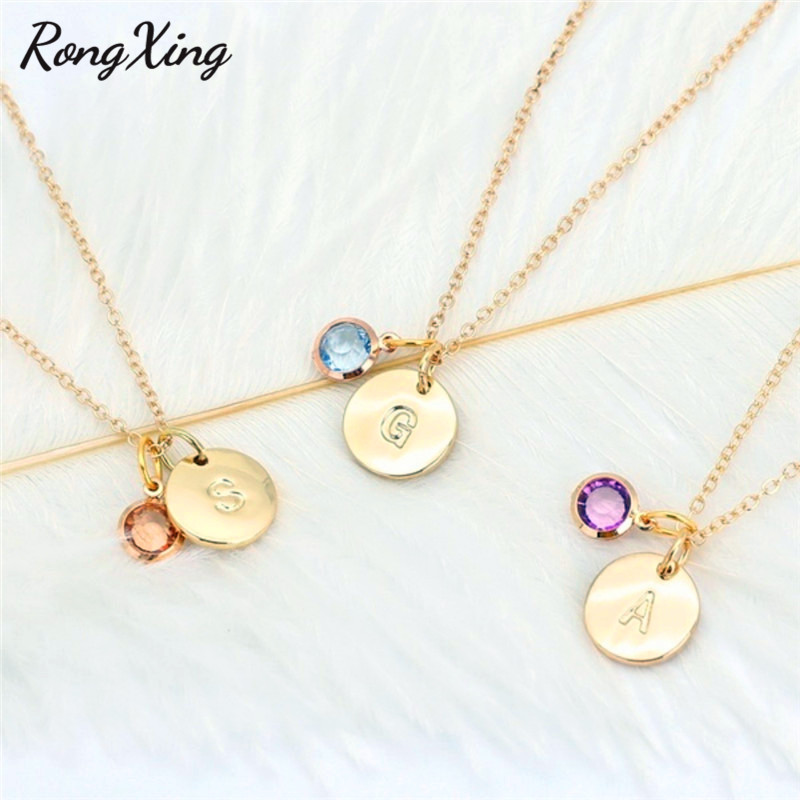 RongXing Personality Necklace Name Abbreviation Pendant 26 Letter Necklace Random Birthstone Necklaces for Women Birthday Gifts Ожерелье