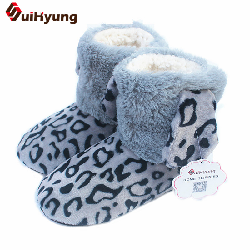 Warm Winter Women's Indoor shoes Ear Leopard Home Shoes Soft Bottom Non-slip Floor Slipper Thick Plush Warm Indoor Cotton Shose women s winter furry slippers home non slip soft couples cotton thick bottom indoor warm rubber clogs woman shoes