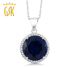 GemStoneKing 9.00 Ct Rond Bleu Saphir Pendentif Collier Solide 925 En Argent Sterling De Mode Bijoux Pour Les Femmes