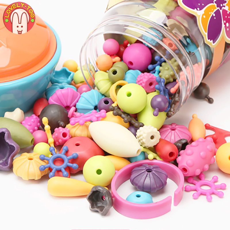 Lovely Too 370pcs Pop Beads Children jewelry Amblyopia Candy Colors DIY Wear Bead Bracelet Kids Toys Personalized Jigsaw Puzzle  eva 1 lot 2 pcs hama fuse perler beads 2 6mm big square pegboards connecting pegoard mini hama beads jigsaw puzzle handmade diy