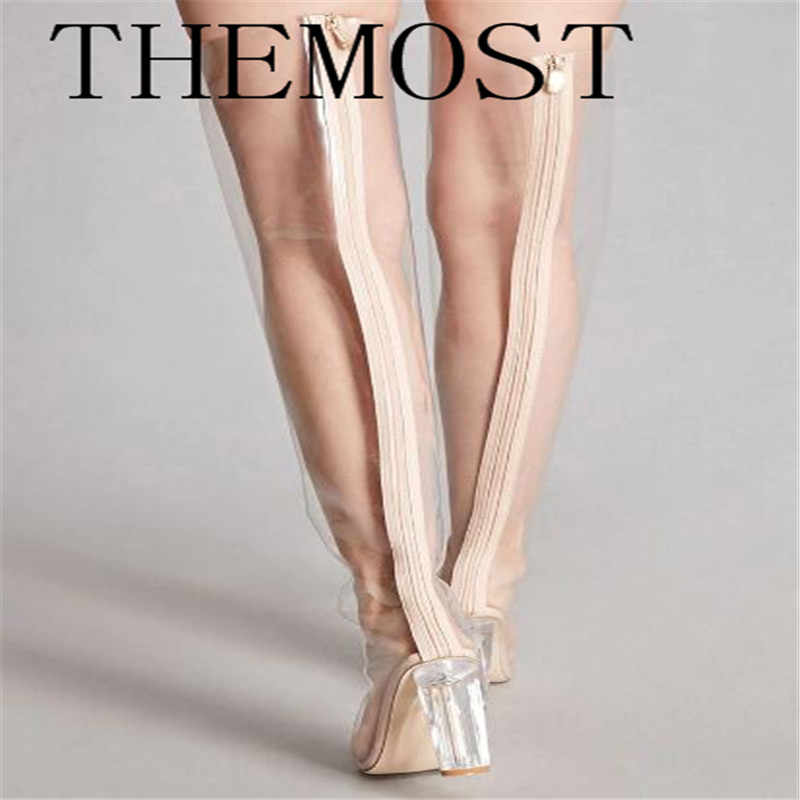 dc3d23a2d9 ... THEMOST Stylish Chyna Perspex Long Boots Clear Peep Toes Transparent PVC  Over Knee Boots Women Tight ...