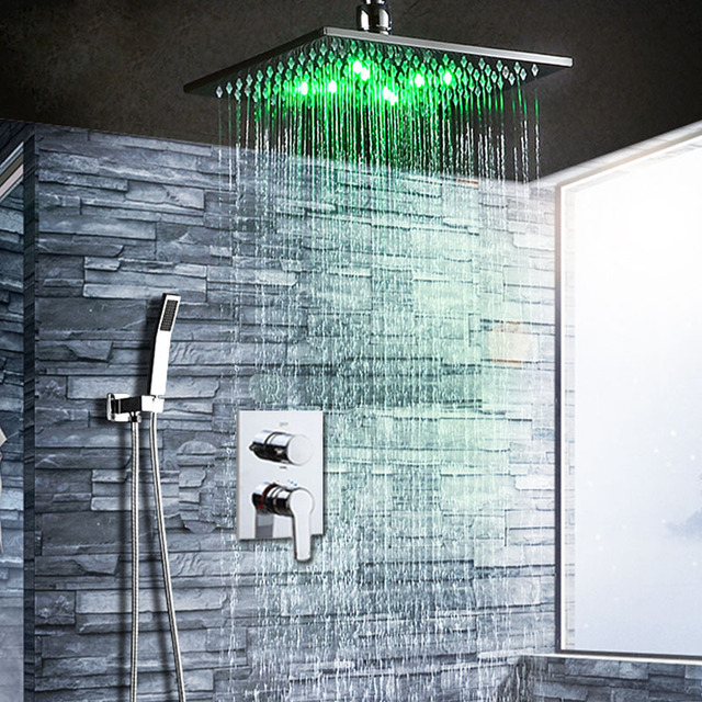 Incroyable Brass Shower Set Ceiling Mounted LED Shower System Rain Showerhead 12 Inch  + Hot And Cold Mixing Valve + Handheld Shower