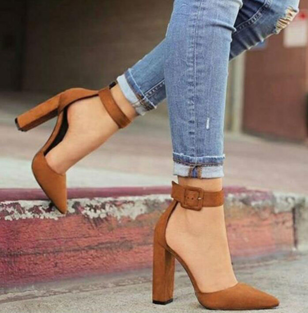 3e96b228ce7 female Zapatos Mujer chunky high heels ladies pointed toe pumps women shoes  woman party ankle strap summer sandals PL17843
