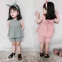 Corea Del Bebé Lindo Conjunto de Algodón Tops + Short de la Ropa de La Princesa Niña Niño Verano Ropa Casual Sólidos Niños Traje barato