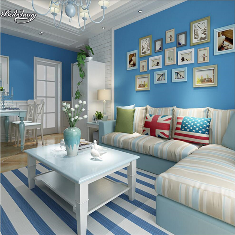 Mediterranean Style Living Room: Beibehang Plain Silk Nonwoven Fabric Wallpaper Living Room