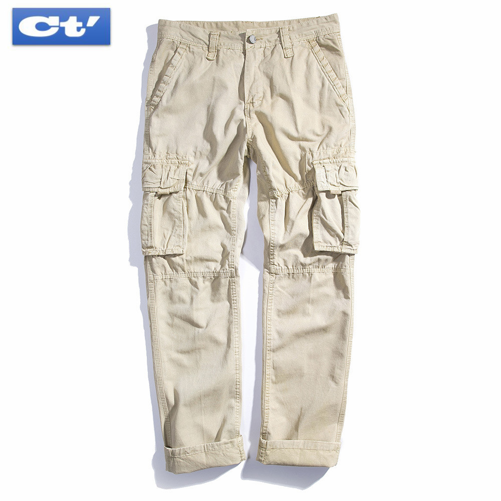 Pants Cargo Men Blue Cotton Khaki Black Army Green Military Safari Style Pockets Casual Pants Men Straight Long Trousers Parkour