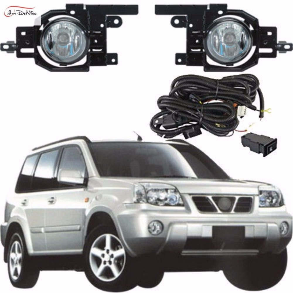 JanDeNing Car Fog Lights For Nissan X-trail 2003~2009 Front Fog Lamp Light Lamp Replace Assembly kit (one Pair) car fog lights lamp for mitsubishi triton 2 door 2009 on clear lens pair set wiring kit fog light set free shipping