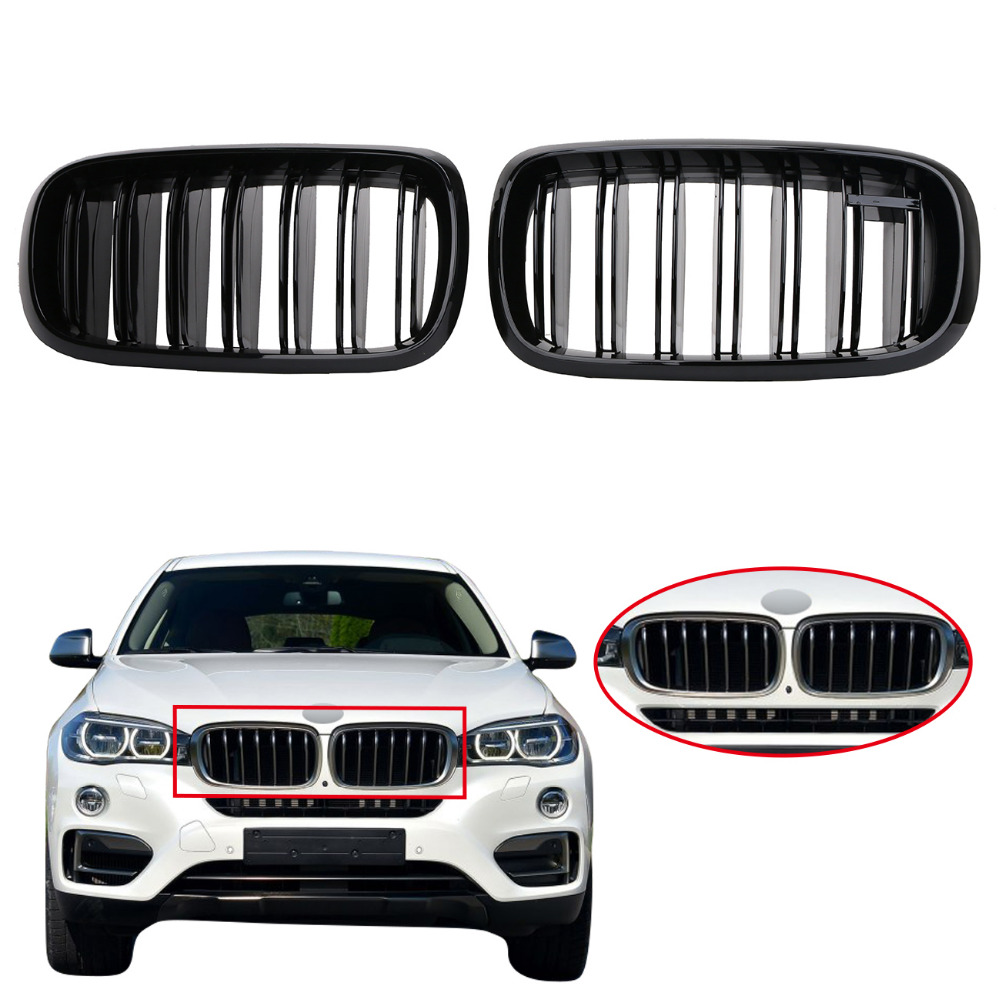 1 pair gloss black front kidney grille double line slat grill lattice for bmw f15 x5