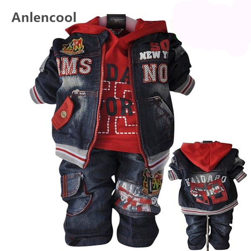 ФОТО Anlencool Baby boys sets 2017Children's clothing spring and autumn male child baby denim set children clothes free shipping