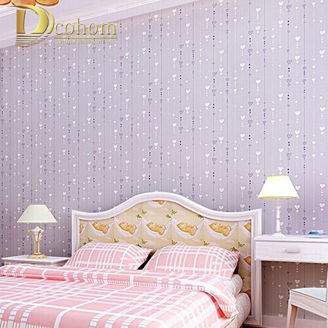 Non-woven pink love printed wallpaper roll striped design wall paper for kid room girls minimalist home decoration R505