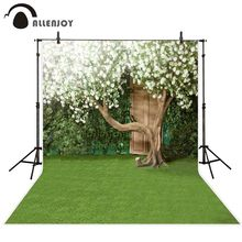 Allenjoy spring background photographic wedding photocall green lawn flower door tree photography backdrops fond photo studio