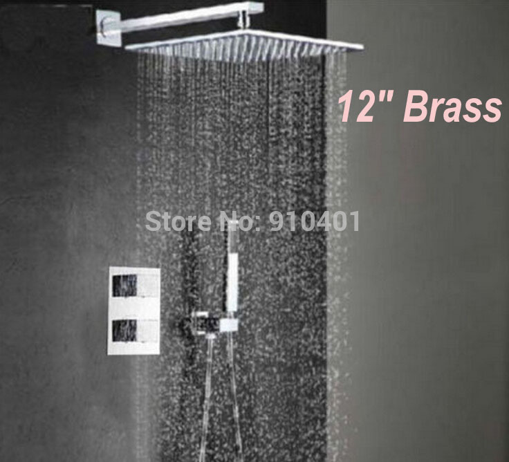 Thermostatic 12 Square Rain Shower Faucet Set Valve Mixer Tap Hand Shower china sanitary ware chrome wall mount thermostatic water tap water saver thermostatic shower faucet