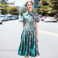 Svoryxiu Runway Summer Vintage Pleated Midi Dress Women's Fashion Short Sleeve Floral Print Color Matching Blue Dresses Vestdios
