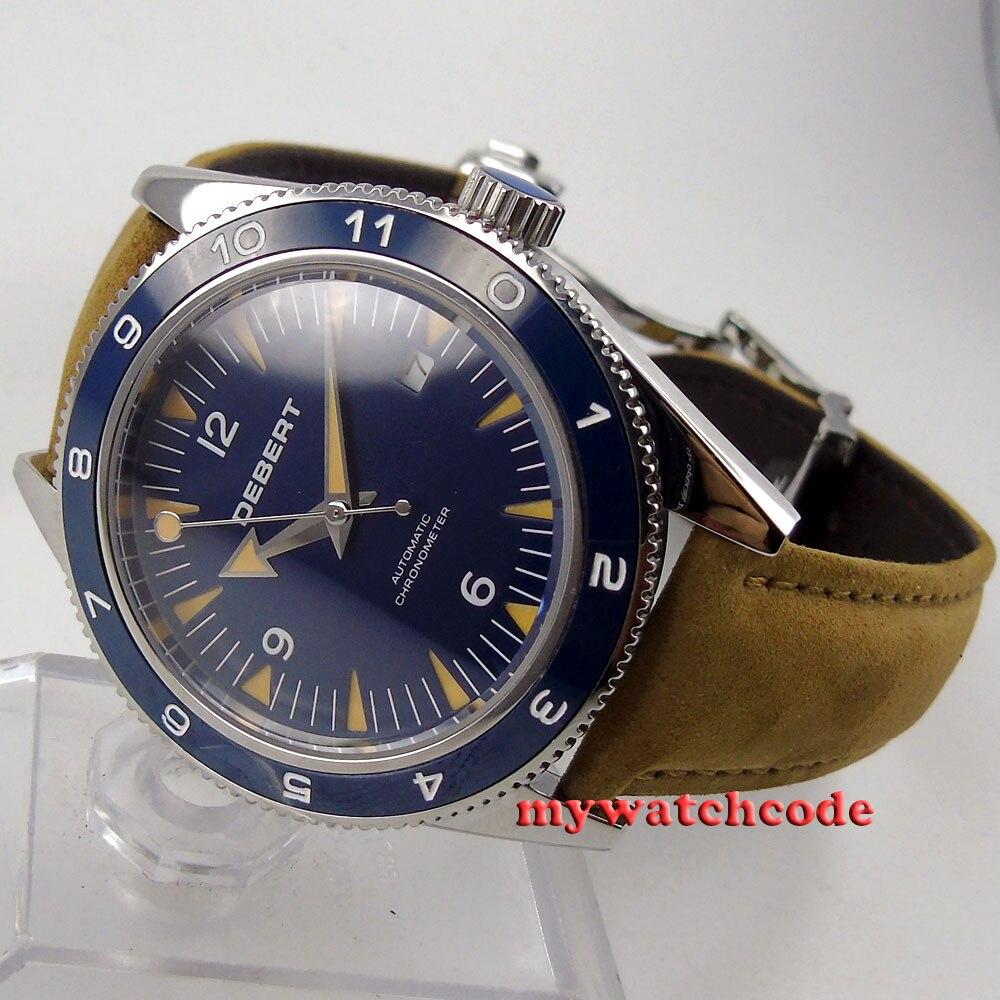 лучшая цена 41mm debert blue deployment clasp sapphire glass miyota Automatic mens Watch D13
