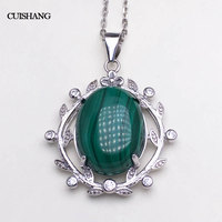 CSJ Real Natural green Malachite pendant sterling silver women femme lady Necklace Wedding Engagement party Gift Fine Jewelry