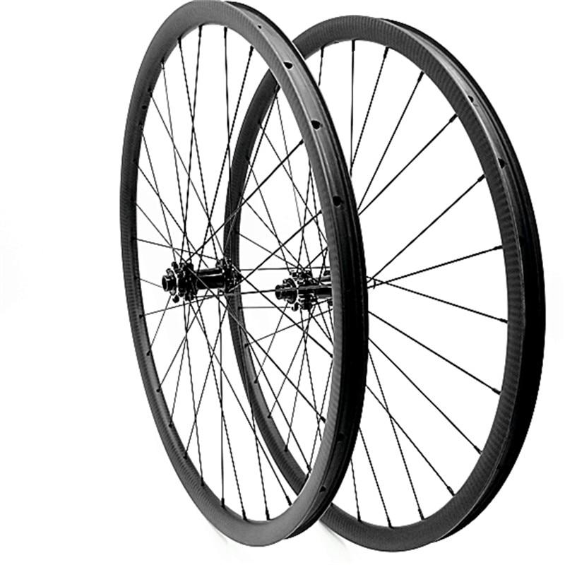 29er дисковые тормоза mtb колеса прямые pull powerway M42 Углеродные mtb дисковые колеса 36x28 мм бескамерные 100x15 142x12 1420 спицы