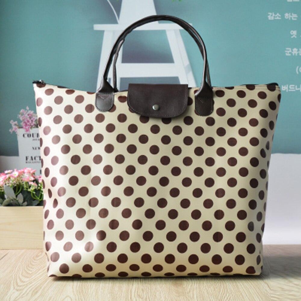 Travel Folding Bag High Capacity Portable Waterproof Shoulder Handbag Simple Thickening Leisure Bag Shopping Bag