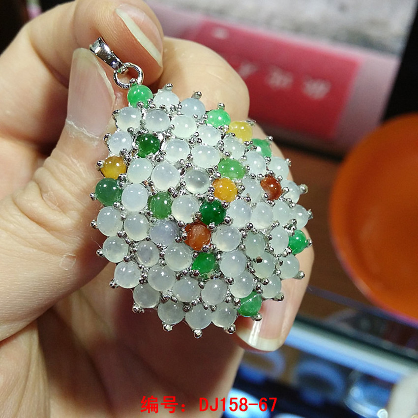 Burma's natural A cargo ice filled with green eggs ring face inlaid stone pendant for women/ green eggs