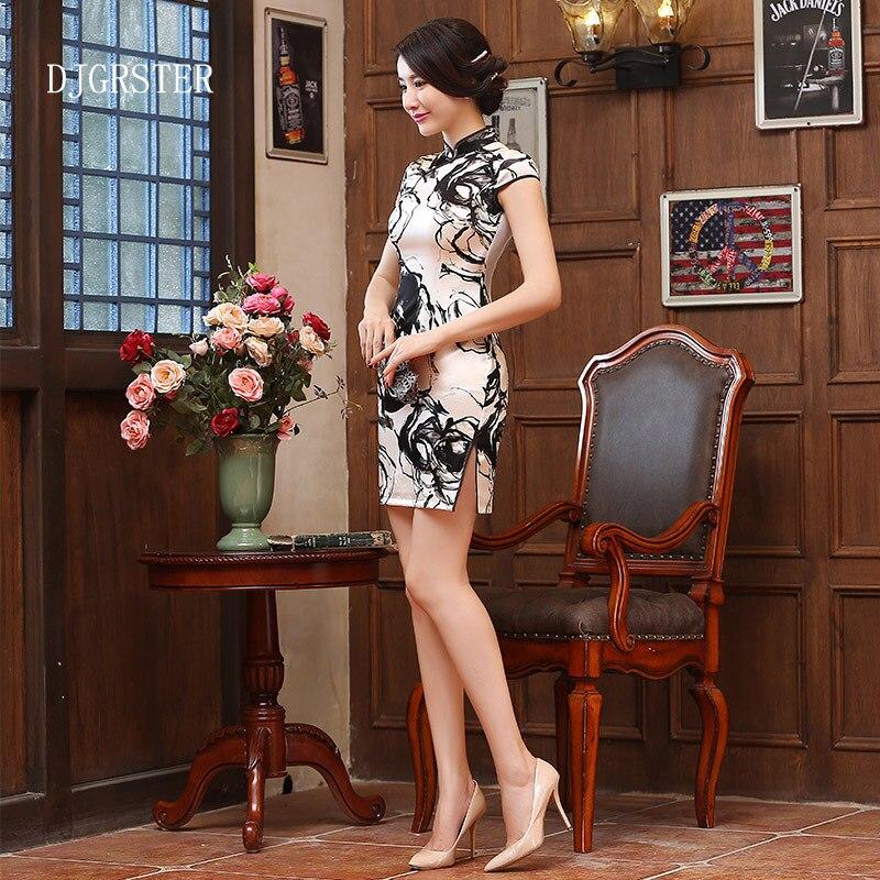 DJGRSTER femmes court soie Cheongsam vestidos en porcelaine noir et blanc Qipao Vintage chinois traditionnel taille de la robe: S M L XL XXL