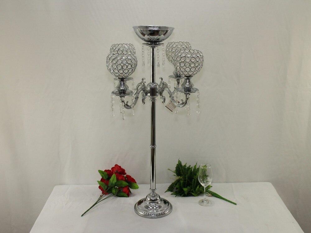 H90cm W50cm 5 Heads Crystal Candelabra Candle Holder