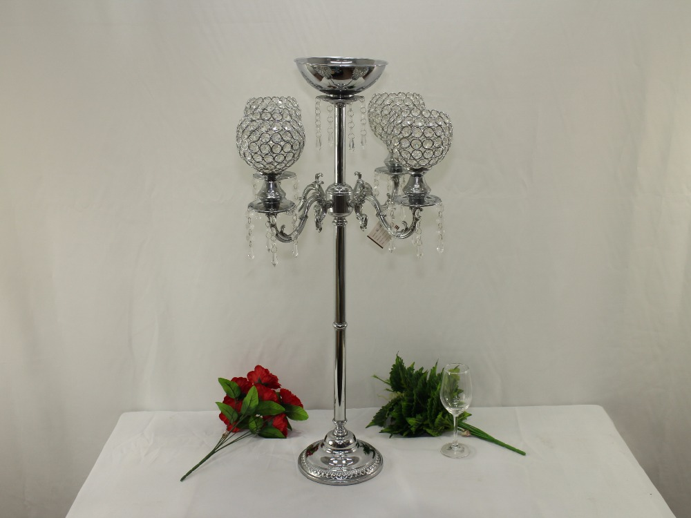 H90cm * W50cm, 5 Heads Crystal Candelabra Candle Holder wedding Centerpiece flower Vase Candle holder with pendants candelabrum