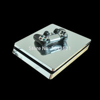 Chrome Skin 1 Set Silver Vinyl Decal Skin For Play station 4 Slim PS4 Slim Console +2Pcs Stickers For PS4 Slim Accessories