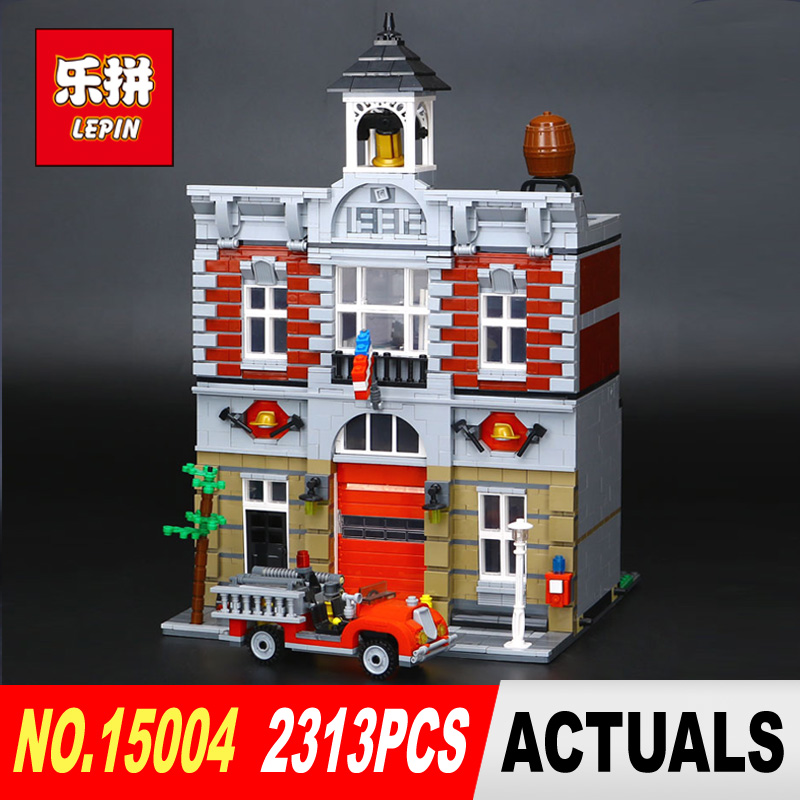 Lepin 15004 Model Doll House Building Kits 2313Pcs Blocks City Street Fire Brigade Educational Compatible With 10197 toy lepin 15004 2313pcs city creator series fire brigade model building blocks bricks toys for children gift compatible 10197