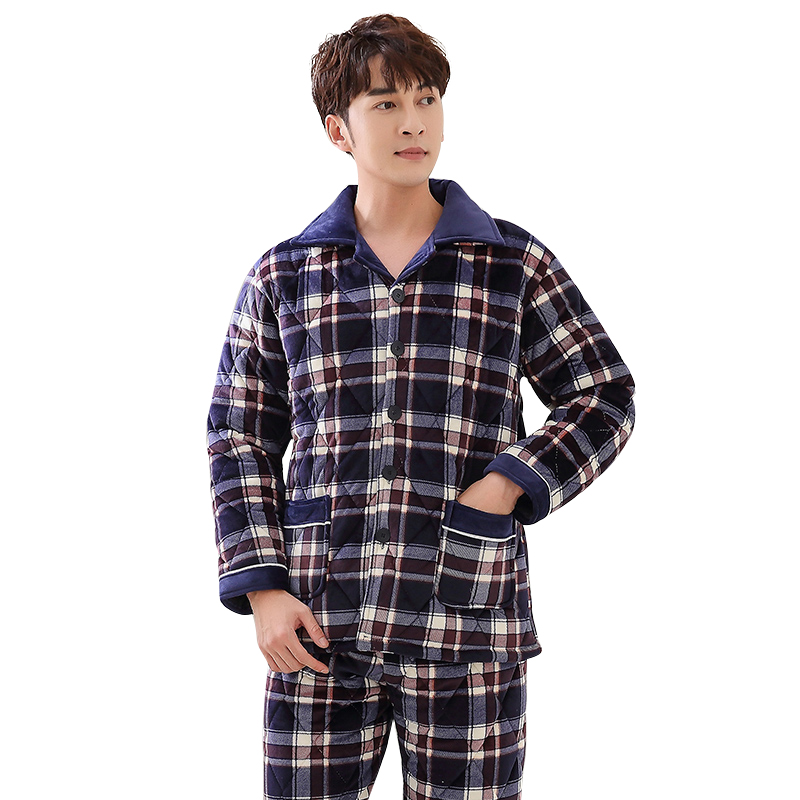 Three Layer Thick Winter Quilted Pajamas Nightshirt Coral Velvet Pijamas Hombre Inverno Mens Plaid Male Jacket Plus Size Suit3XL