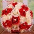 WDZ-279 Colorido Rose Decor Buquê de Casamento De Cristal Pérolas Buque Casamento Ramos De Novia Gelin Buketi Branco Rosa Roxo Vermelho