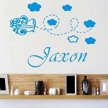 Nome personalizado Ao Cliente Avião Bebê Crianças Berço vestido decalque da parede da sala etiqueta Da Escola Berçário Adesivos de Parede Decorativos Para Casa