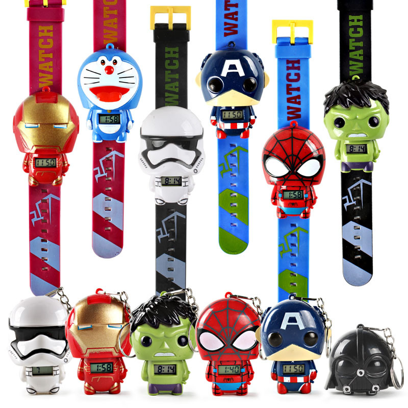 Children's Watches Childrens Watch Cartoon Car Spider-man Ice Snow Princess Digital Watch Child Toy Patted Watch Birthday Gift Electronic Clock