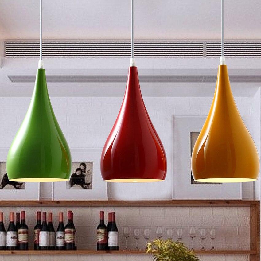 Loft moderne coloré pendentif LED lumières éclairage en aluminium suspension lampe salon Restaurant café Bar décor luminaires
