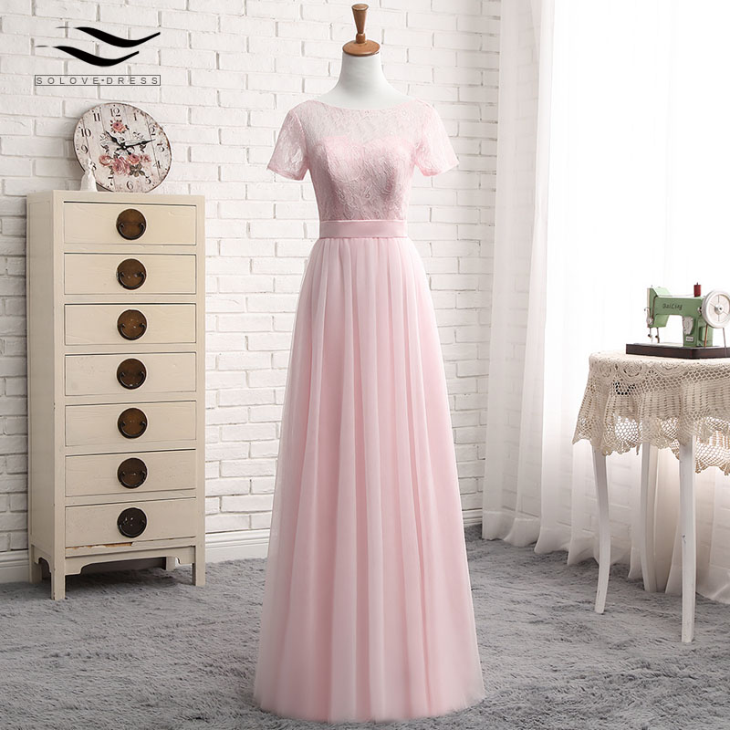 Solovedress Elegant Short Sleeves Cheap A Line Pink Tulle Bridesmaid Dress 2017 Lace With Sash vestido de festa longo SLD-PGE027 2