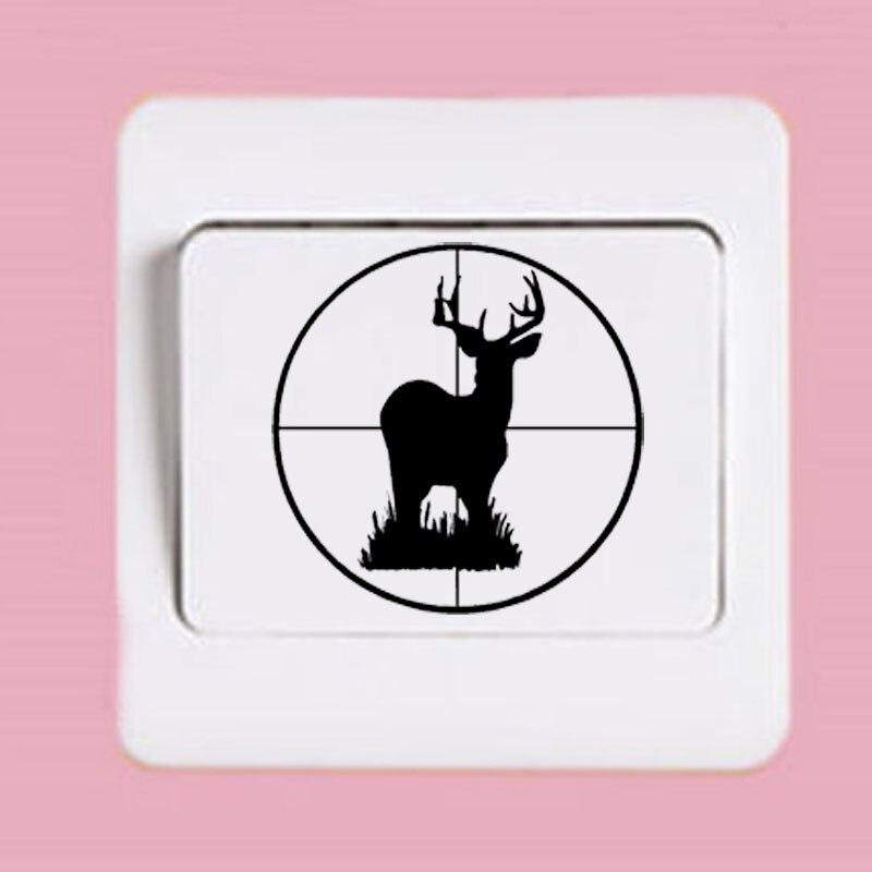 Creative Switch Sticker Decals Deer Buck Scope Target Vinyl Hunting Wall Sticker 2WS0314