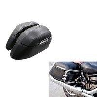 Мотоцикл черный Жесткий седло мешок сумки Чемодан Багажник Случае Box для HD Harley Fat Boy Fatboy Softail Deluxe FLSTN Road king