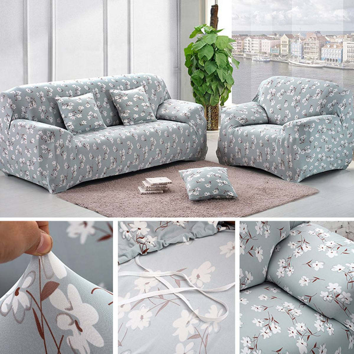 Floral Elastic Slipcover Stretch Sofa Seat Couch Protect Cover Household Dustproof Armrest Sofa Protective Covers 1 2 3 4 SeaterFloral Elastic Slipcover Stretch Sofa Seat Couch Protect Cover Household Dustproof Armrest Sofa Protective Covers 1 2 3 4 Seater