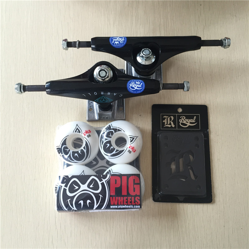 Free Shipping Skateboard Parts Royal Aluminum 5.25 Skateboard Trucks And Pig PU Skateboard Wheels with Royal Riser Pad