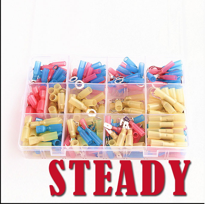 ФОТО 240PCS Fully Insulated Spade Heat Shrink Electrical Connectors Waterproof Wire Solder assorted crimp Terminals with Case