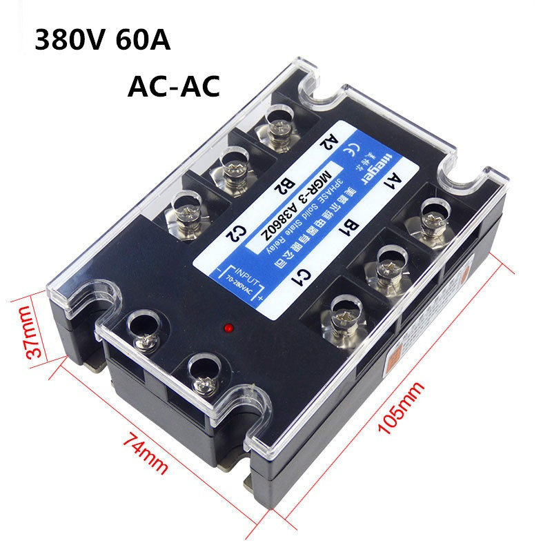 Three-phase solid state relay 380V 60A MGR-3 A3860Z AC-AC Control Voltage 78-280 V / AC genuine three phase solid state relay mgr 3 032 3880z dc ac dc control ac 80a