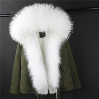 2017 brand new Khaki green winter jacket women winter coat women parkas real fur coat big natural raccoon fur collar outerwear