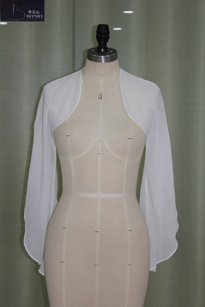 145 Colors Hot Sale Wedding Jacket Chiffon Evening Warps/Bolero/Shawls Long Sleeves Bride Shrugs Cheap Wedding Accessory