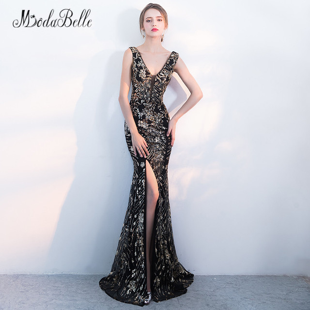 8c0d8160df5 modabelle Sequin Gold Black Long Formal Evening Dress Sparkly Cheap High Split  Sexy Mermaid Evening Gown 2018 Avond Jurken