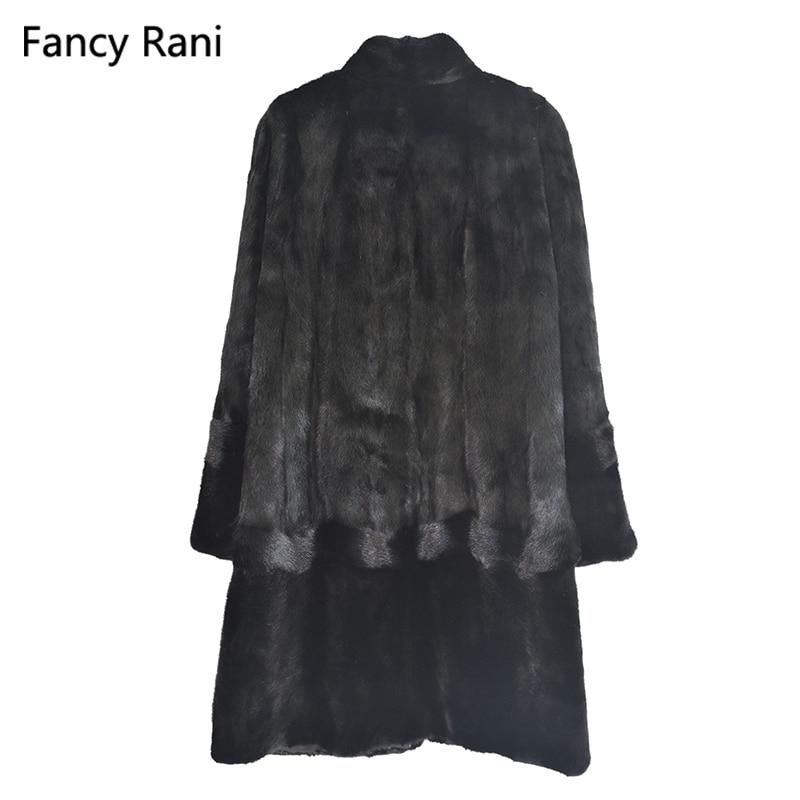 Véritable Vêtements Fourrure Veste X Chaud De Vison Pelt Pleine Manteau Réel Naturelle D'hiver long Col Noir Épais Mandarin Femmes qTEPzxwnSg