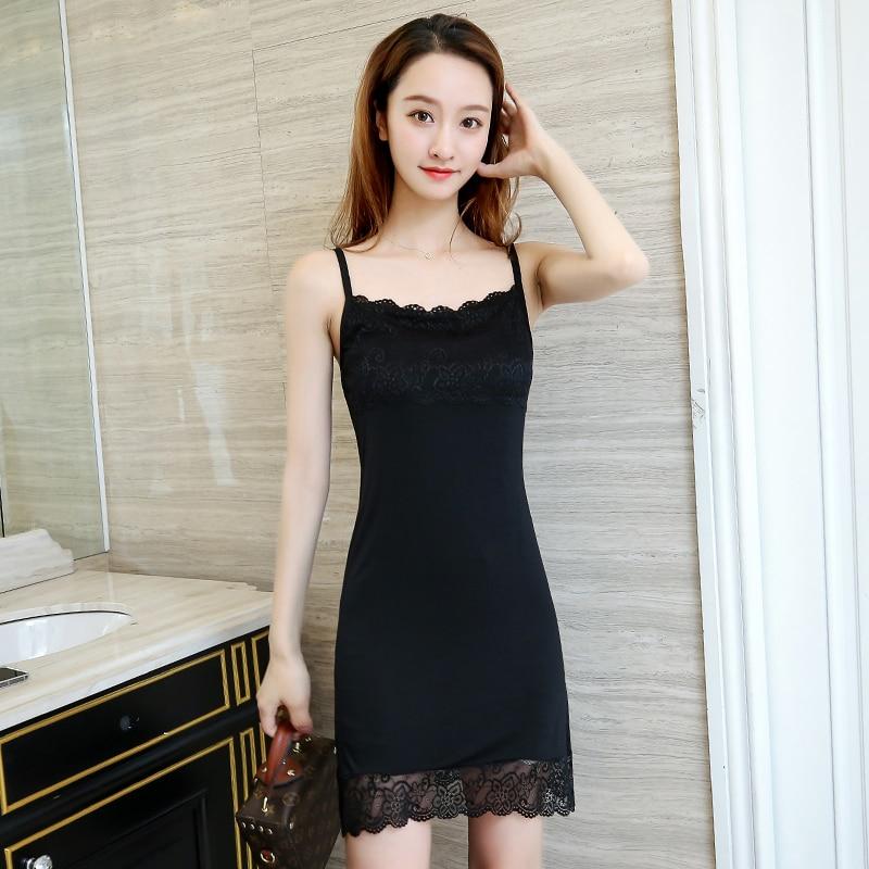 2019 Summer Women Sexy Strap Full Slips Dress Long