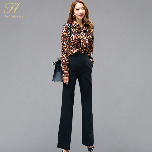 H Han Queen Women 2 Pieces Business Suits Sexy Leopard Shirt Top + Waist  Solid Black bfdeae319