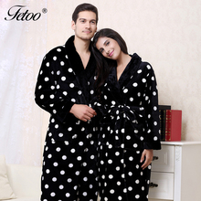 Fetoo Long Bathrobe Polka Dot Flannel Kimono Bath Robe Dressing Gown Peignoir with Belt Long Robes Couple Lovers Women Men(China)