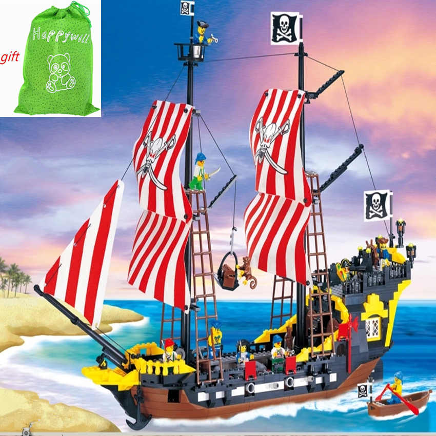 Happywil Enlighten 308 870cs Pirates Ship Series Black Pearl Model Building Blocks Kit Bricks Educational Toys Gifts Compatible kazi 608pcs pirates armada flagship building blocks brinquedos caribbean warship sets the black pearl compatible with bricks